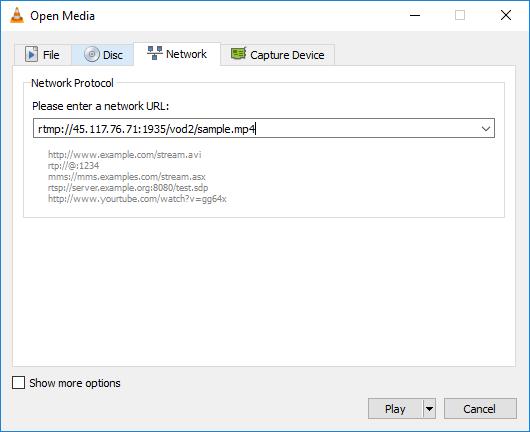 Dùng phần mềm VLC để test stream video